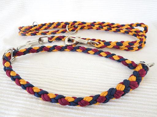 Schlupfhalsband mit passender verstellbarer Leine: goldenrod, midnight blue, burgundy