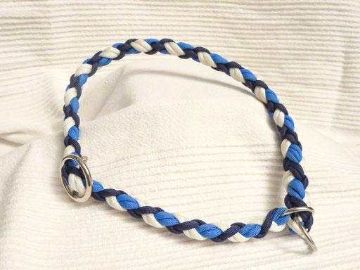 Schlupfhalsband, 6 Schnüre 4-fach geflochten: white, midnight blue, colonial blue