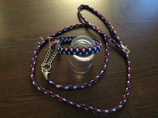 Halsband mit Durchzugkette und passender, verstellbarer Leine: dunkelblau, hellblau, bordeaux