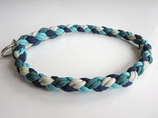 Schlupfhalsband, 4-fach geflochten: silver grey, turquoise, midnight blue, teal