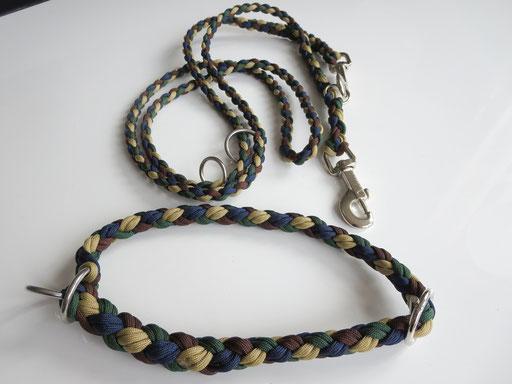 Leine, verstellbar, 4-fach geflochten mit passendem Schlupfhalsband: gold, midnight blue, walnut, emerald green