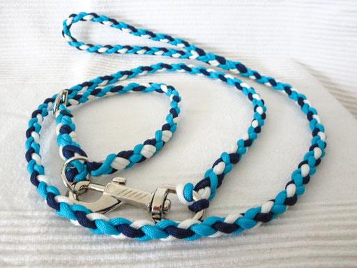 Schlupfhalsband (ca. 36 cm) mit passender Leine, 4-fach geflochten: white, midnight blue & turquoise