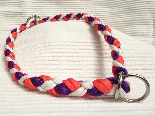 Schlupfhalsband, 6 Schnüre 4-fach geflochten: weiß, neon-orange, bright purple