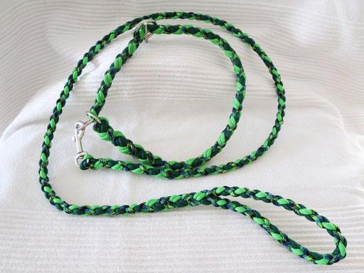 Leine mit passendem Schlupfhalsband, 4-fach geflochten: kelly green, neon green, aquatica