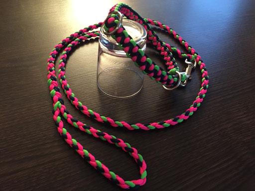Schlupfhalsband mit passender Leine für Emmi und Katerina: neon-pink, dunkelblau, neon-grün!