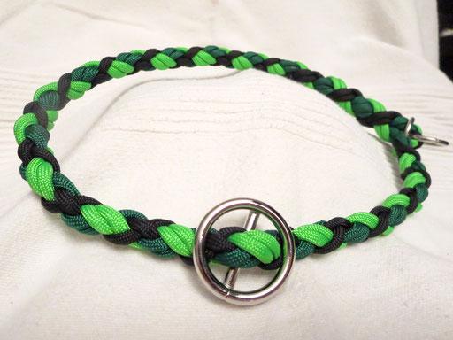 Schlupfhalsband, 6 Schnüre 4-fach geflochten: kelly green, neon green, black
