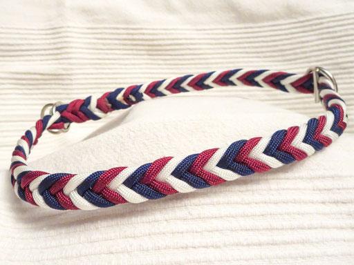 Schlupfhalsband, Fischgrätmuster: midnight blue, burgundy, white