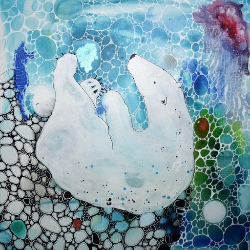 """""""Polar one"""" Encre sur toile 70x70. 780 euros"""