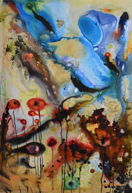 """""""Explosion au jardin"""" Encre sur toile. 140x100 cm -"""