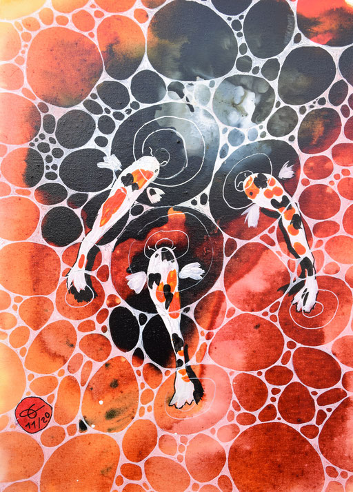 """3 carpes koï - fond rouge"" 33x24 cm. 120 euros"