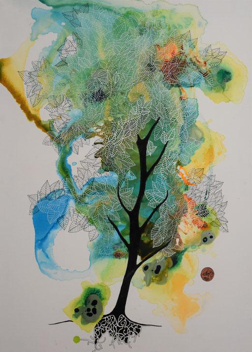"""""""Un arbre"""". Encre sur toile  61x46 cm- 340 euros -"""