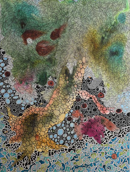 """""""Les dahlias roses""""  Encre et Posca sur toile 130x97 cm - 1680 euros"""