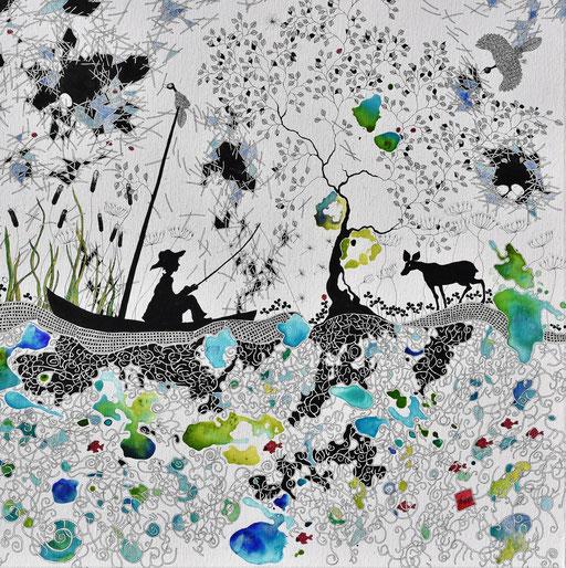 """""""Au fil de l'eau"""" Encre sur toile 90x90 cm (Collection privée)"""