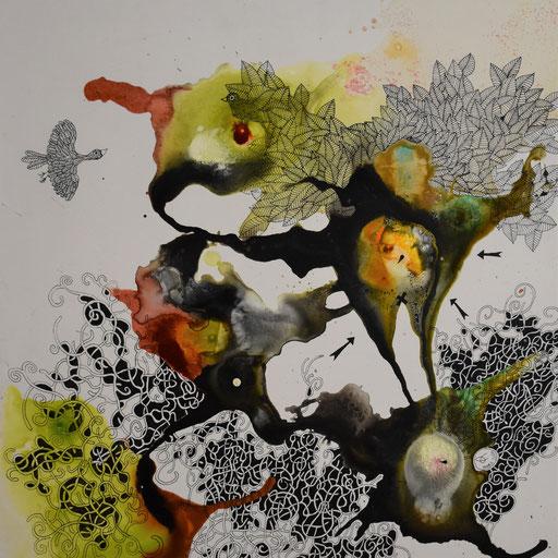 """""""Les rêves des arbres N°1"""". Encre sur toile. 50x50 cm -"""