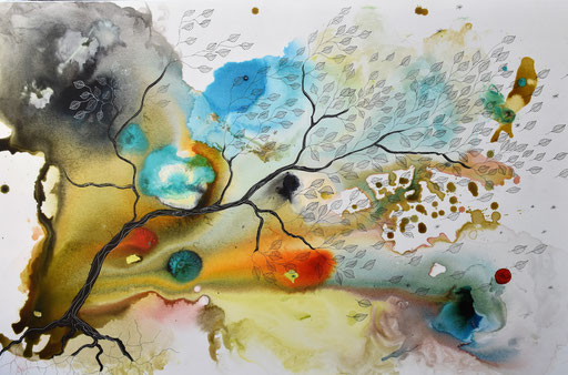 """""""La tempête"""" Encre sur toile 100x65 cm."""