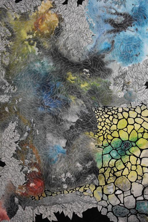 """""""Folium"""" Encre et Posca sur toile 130x97 cm -"""