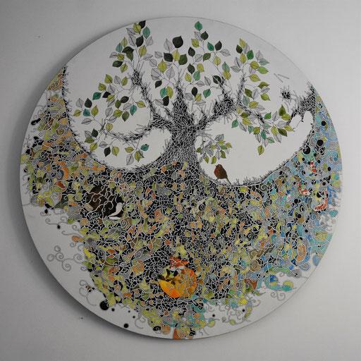 """""""Sous l'arbre"""" Encre sur toile diam 100 cm - 1400 euros"""