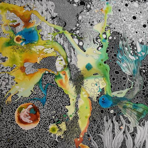 """""""Onirisme bleu"""" Encre sur toile 90x90 cm -"""