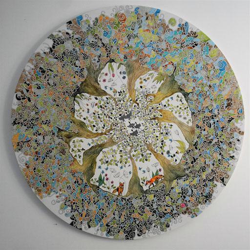"""La ronde"" Encre sur toile diam 100 cm - 1400 euros"