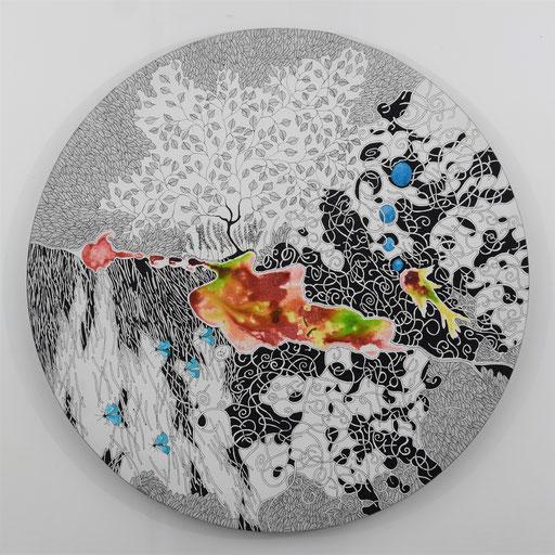 """""""les papillons bleus"""" Encre sur toile diam 50 cm - 340 euros"""