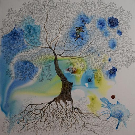 """""""Arborescences"""". Encre sur toile. 90x90 cm -"""