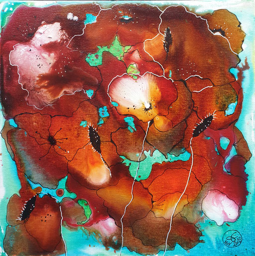 """""""les fleurs rouges"""" Encre sur toile 30x30cm. 100 euros"""