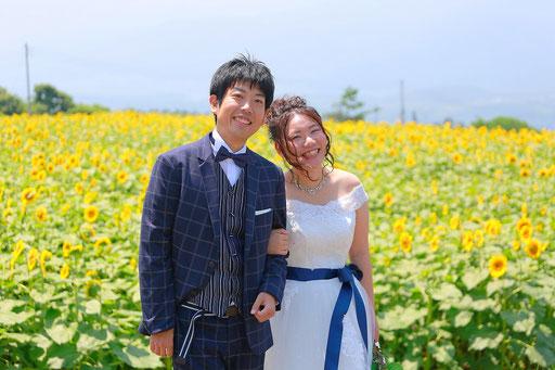 ひまわり畑を背景に腕を組む花嫁