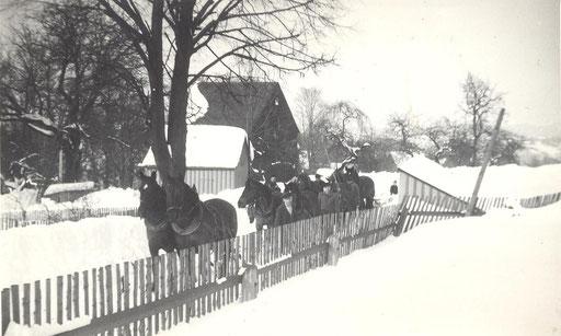 Wünschendorf Erzgebire Stolzenhain Schneeräumen mit Pferden in den fünziger Jahren