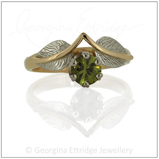 Leaf Engagement ring with Green Sapphire