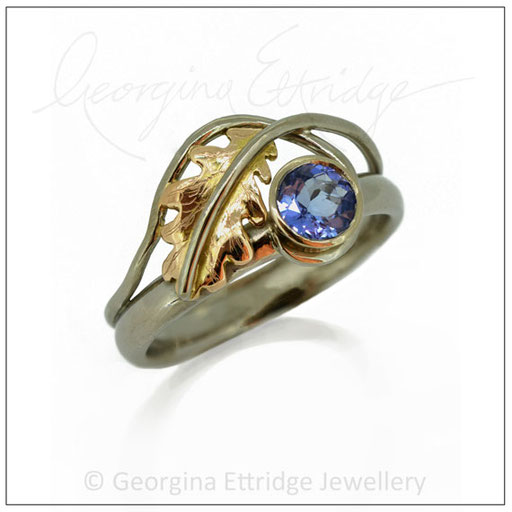 English Oak Leaf with Blue Sapphire Ring
