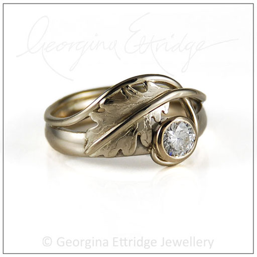 Quercus Oak Leaf Ring Engagement Ring white gold
