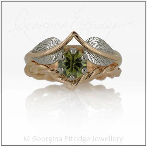 Leaf Engagement Ring Set