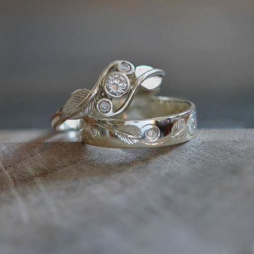 Bespoke Leaf Inspired Engagement & Wedding Rings