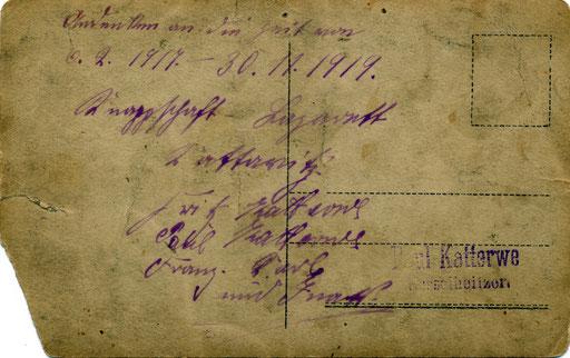 Fritz und Paul Katterwe 6.2.1917 - 30.11.1919