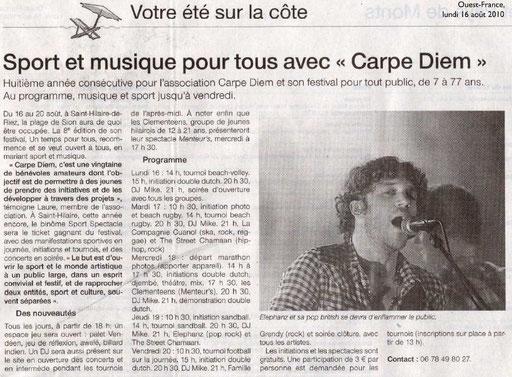 Ouest France - 16 août 2010