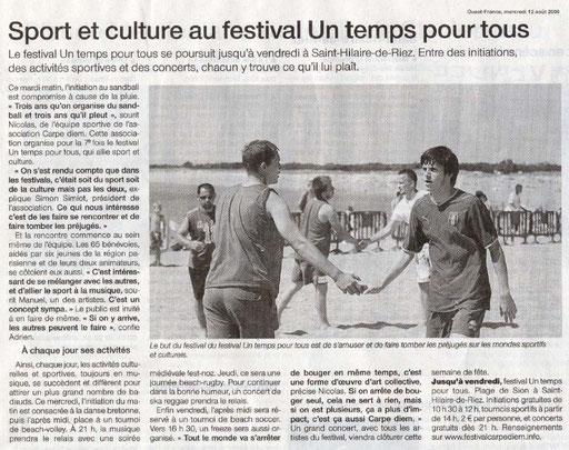 Ouest France - 12 août 2009