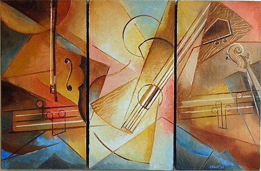 TRIPTYQUE MUSICAL huile/toile 3x30x60  non disponible (o)