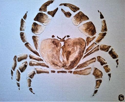 Crabe 3  Enduit acrylique sur lin 38X46cm 2019