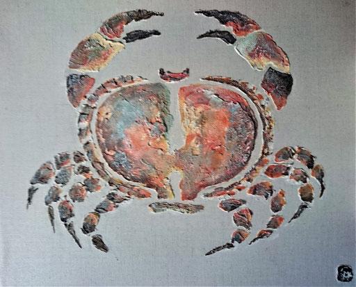 Crabe  Enduit acrylique sur lin 46x38cm 2019