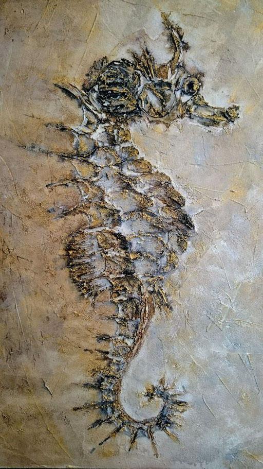 Hippocampe Mixte sur toile 50x80cm 2017