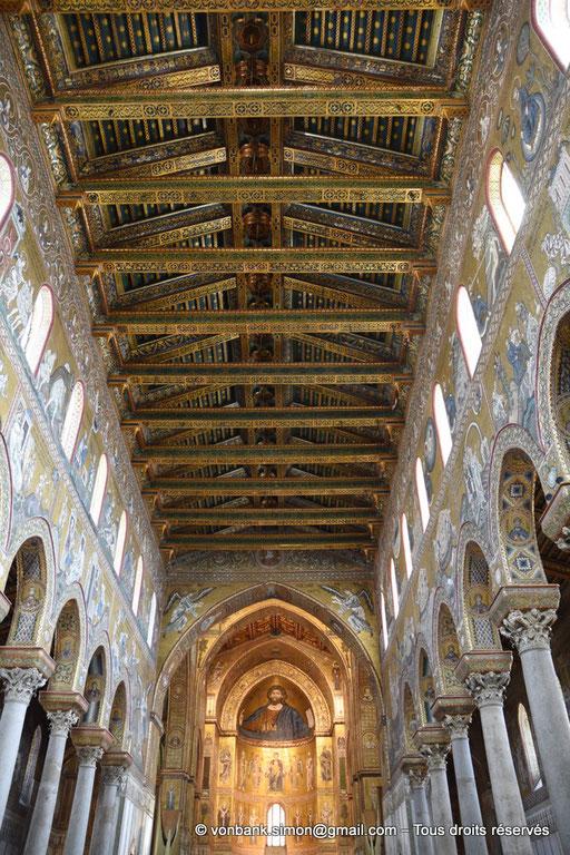 [NU906-2019-1694] Santa Maria Nuova (Monreale) : Plafond de la nef - Christ-Pantokrator (abside centrale)