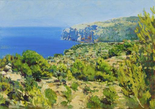 """""""An der Küste (Steilküste bei Deia, Mallorca)"""", Acryl, 100x70cm, 2008"""