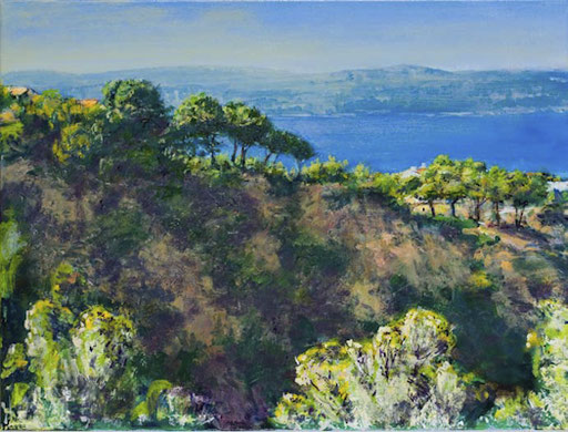"""Blick über die Bucht (Pahuera, Mallorca)"", Acryl, 80x60cm, 2008"