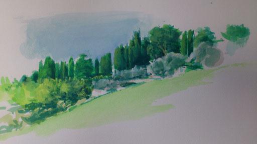 """Hügel bei San Benedetto (Toscana)"" Aquarell/Gouache auf Papier - vor Ort- 08.08.2017"