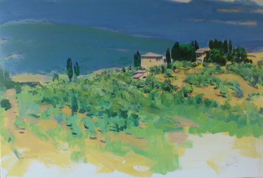 """Blick von Volterra Richtung San Gimignano"", Acryl, 60x80cm, 2016"