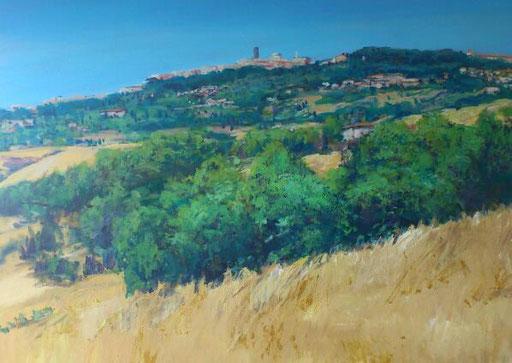 """""""Ansicht von Volterra (Toscana)"""", Acryl, 150x120cm, 2013"""