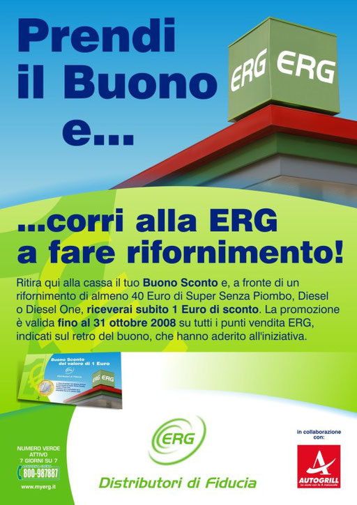 Co-marketing ERG/Punti di ristoro autostradali - Cartello da banco