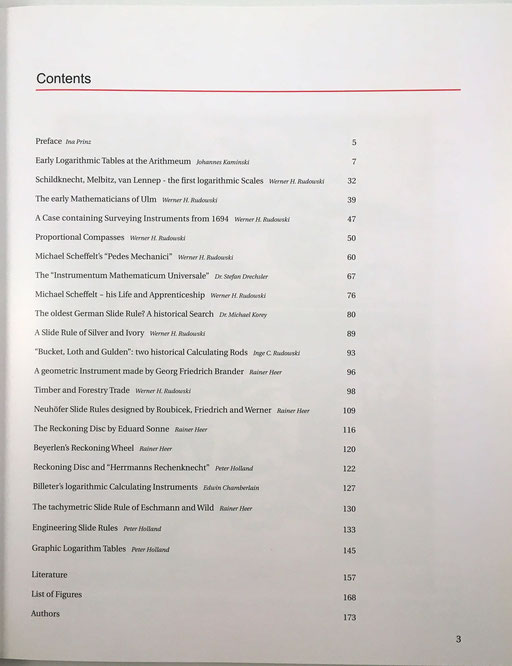 Índice del libro. Historia de las reglas de cálculo, aspectos técnicos y clasificación por regiones de habla alemana. Publicado por Arithmeum Museum (Universidad de Bonn)