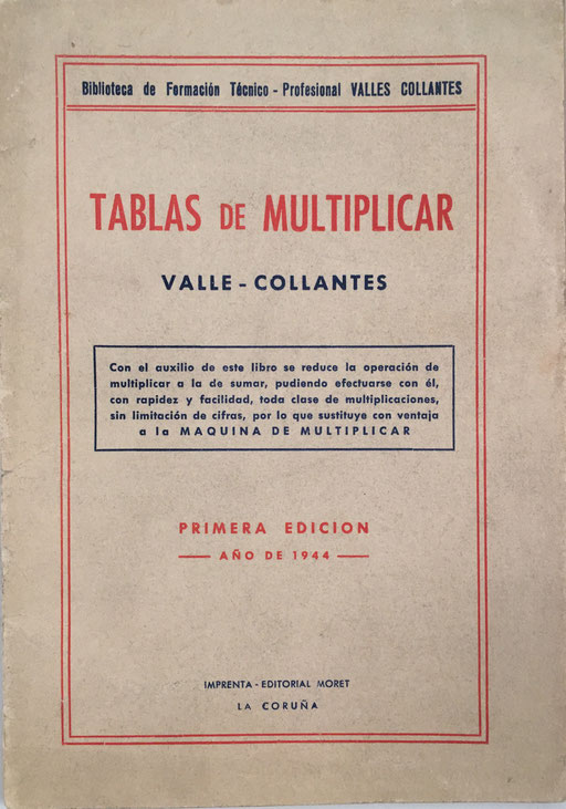 Libro TABLAS DE MULTIPLICAR, Francisco Valles Collantes, año 1944, 12x17 cm