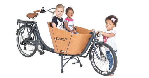 Das Babboe Mini-E für den Transport von Kindern